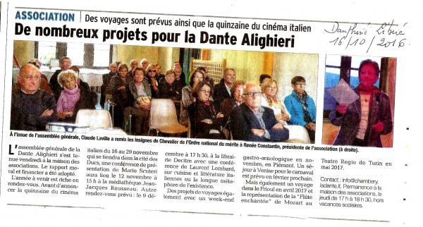 Article dauphine paru le 16 oct 2016