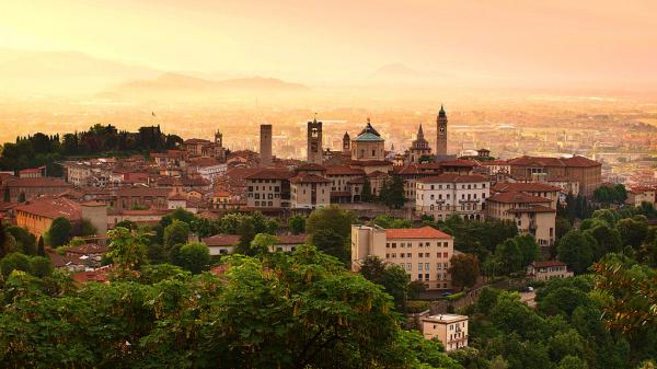 Sunrise at bergamo old town lombardy italy